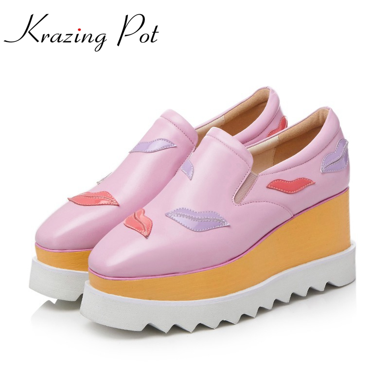Krazing Pot full grain leather platform shoes women square toe slip on women leisure causal lip print beauty increased shoes L69 krazing pot empty after shallow shoes woman lace work flats pointed toe slip on sheep suede causal summer outside slippers l16