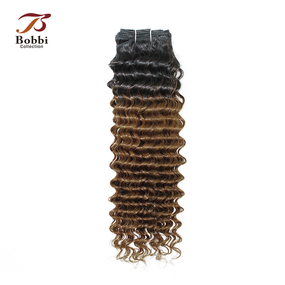 Bobbi Collection 1 Bundle T 1B 30 Ombre Brown Auburn Pre-Colored Brazilian Deep Curly Hair Weave Non Remy Human Hair Extension