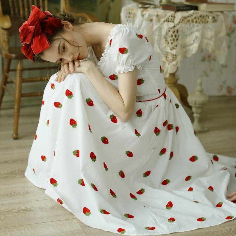 LYNETTE 'S CHINOISERIE Primavera Estate Donna Vintage Carino Ricamo Sottile Con Scollo A V Abiti