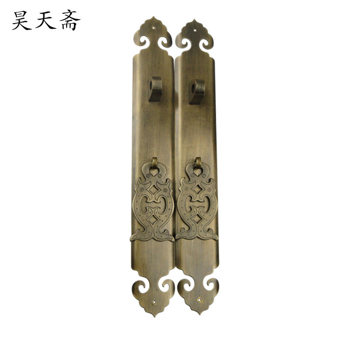 [Haotian vegetarian] antique copper wardrobe door handle cabinet door handle door handle HTC-257 shoe [haotian vegetarian] antique copper straight handle antique furniture copper fittings copper handicrafts htc 041
