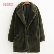 冬の新厚く暖かい模造毛皮のコートロング段落人工毛皮の女性のジャケットヴィンテージエレガントなラペル女性のジャケット