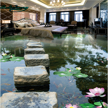 beibehang Creek stone pier bridge water 3D floor three - dimensional painting large - scale customized wallpaper murals