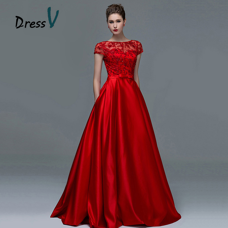 Dressv Élégant Rouge Dentelle Manches Courtes Robes de Soirée 2017 Sexy A-ligne Bateau Cou Serrure Longue Femme robe de soirée Formelle robes