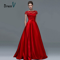 Dressv Elegant Red Lace Short Sleeves Evening Dresses 2017 Sexy A Line Boat Neck Keyhole Long Women Formal evening dress gowns
