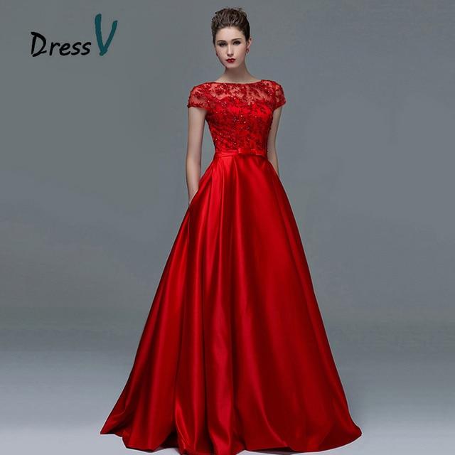 81906a0bd Vestido elegante rojo de encaje de manga corta vestidos de noche 2017 Sexy  Línea A cuello