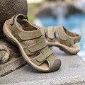 2016 Estilo Italiano Hombres Deslizadores de Las Sandalias Sandalias de Gladiador Zapatos de Cuero Genuino Al Aire Libre Ocasional de Los Hombres de Verano Para Hombre
