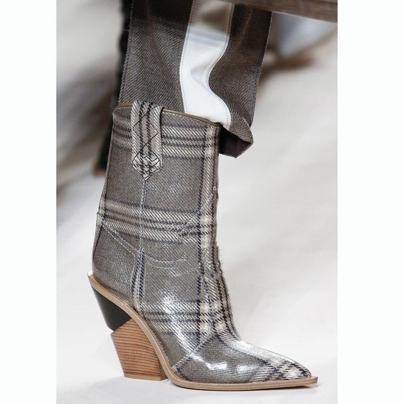 Mujer Moda Dedo 2018 Picture Punta Deslizamiento Cortas As Cuero Del Talones Botas Real as 9 Cm De Picture Pie Alto En Botines Zapatos Runway Tacón SrnxRrE