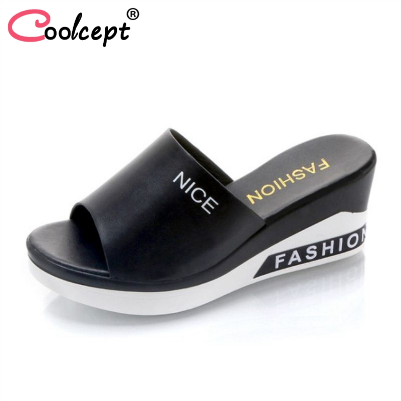 Coolcept Ladies High Heels Sandals Platform Daily Shose Print Summer Vacation Simple Sandals Party Fashion Footwear Size 35-39