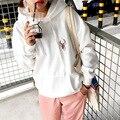 Mulheres Coreano Fan estilo campus casual solta com capuz cor sólida simples veados bordado camisola para meninas