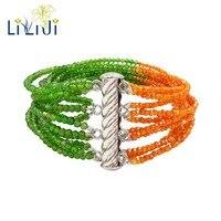 LII Ji настоящий Блестящий диопсид, оранжевый циркон 12 рядов стерлингового серебра 925 пробы тонкий браслет для женщин модные ювелирные издели