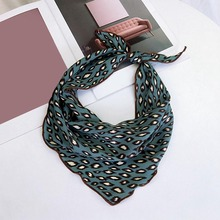 Fashion Women Silk Scarf 2019 New Leopard Satin Shawl Scarfs Square Head Scarves Wraps