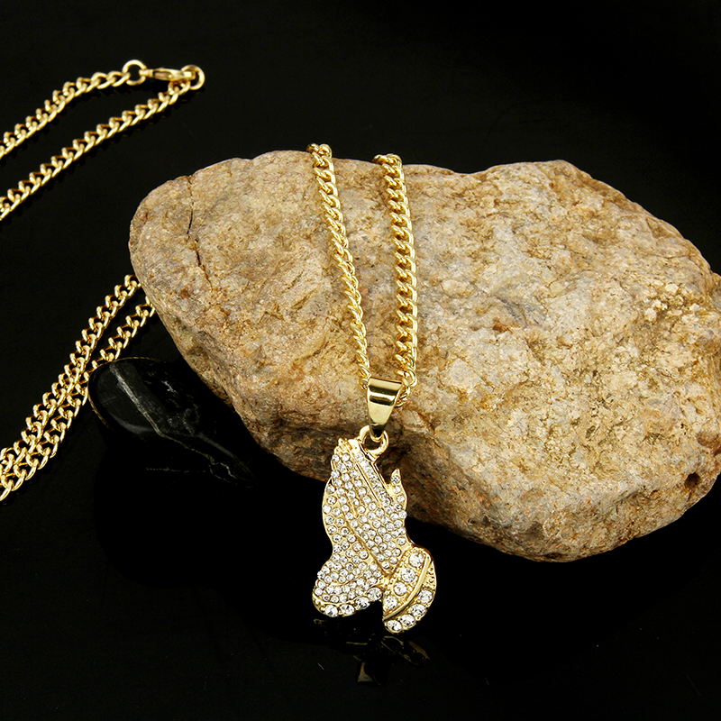 02a38a6fa4225 2018 The Praying Hands Pendants & Necklaces Brother Gift Gold Color Crystal  Alloy Hip Hop Men Chain Jewelry Long Necklaces Party