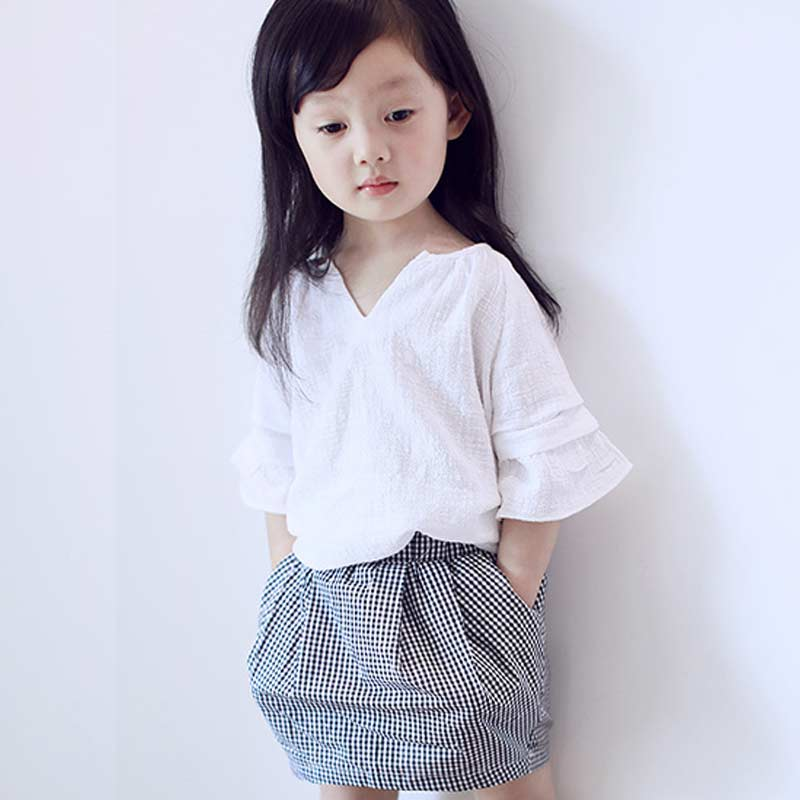New Arrival Breathable Baby Girls Outfit Clothes White T-shirt Tops +Plaid Skirt 2PCS Kids Children Kids Girl Clothing Set
