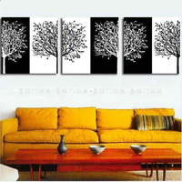 Hand Painted Picture on Canvas Abstract Tree Landscape Black and White Wall Painting Hang Paintings Group Of Oil Painting