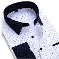 BOZE Nova Outono Homens Impresso Camisa Casual Manga Longa Fino Fit Floral Polka Dot Patchwork Marca de Moda Grandes Homens Se Vestem camisa