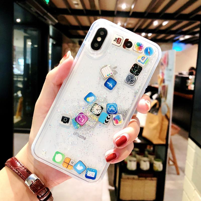 Amusing Mobile apps Icon pattern phone case For iPhone XS Max XR X Glitter Quicksand Liquid Case for iPhone X 8 7 Plus 6 6s Case iPhone