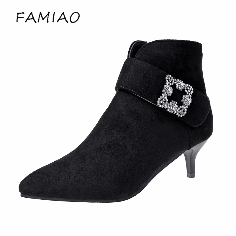 FAMIAO 2017 Autumn Winter Women Ankle Boots thin/thick Heel Pumps Zip Pointed Toe Fashion Lady Woman Shoes 2 style woman wedge heel ankle boots 2015 the latest autumn winter fashion zipper pumps boots cross straps woman wedge heel ankle boots