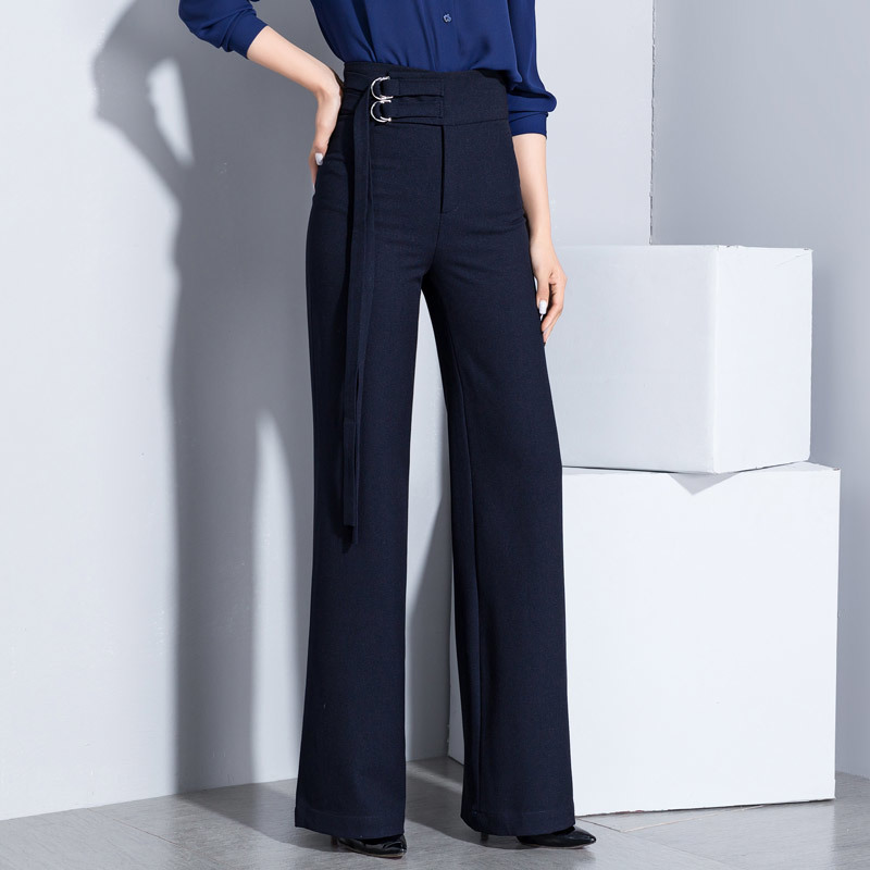 Professional Business Wide Leg Pants Women High Waist Trousers Slim Female Work Wear Office Lady Career Plus Size Clothing
