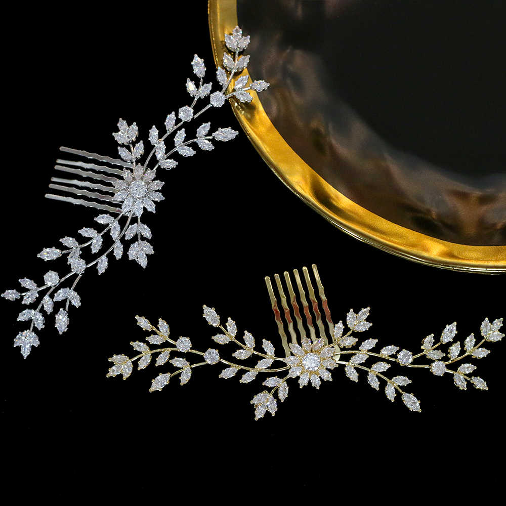 ASNORA High quality bride CZ hair comb bride wedding hair accessories crystal zirconia comb hair clip wedding jewelry