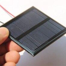 Китай 0,6 Вт 5,5 В солнечная ячейка поликристаллическая солнечная панель DIY панель солнечной батареи зарядное устройство с 15 см кабель провода Led свет 65*65*3 мм