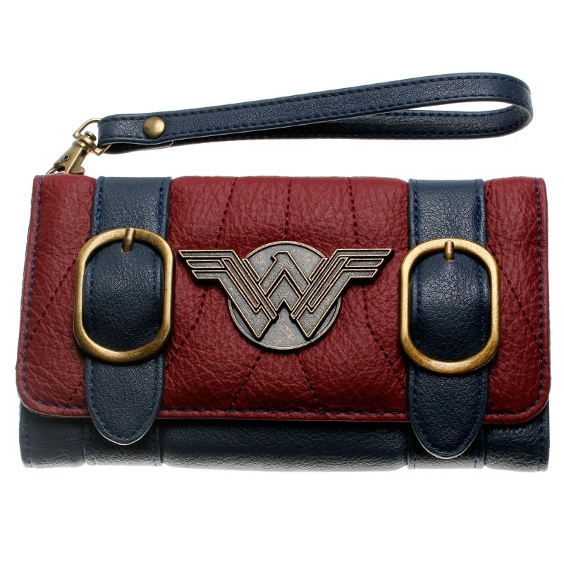 Wonder femme portefeuille double boucle tri pli rabat sac à main bleu/Bordeaux rouge brodé métal badge portefeuille femal DFT-6502