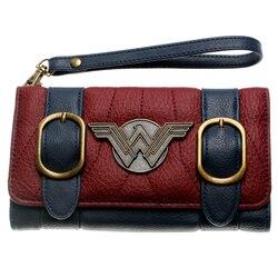 Mulher maravilha carteira dupla fivela tri dobra aleta bolsa azul/bordeaux vermelho bordado metal distintivo carteira femal DFT-6502