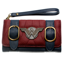 Wonder Woman wallet double buckle tri fold flap purse Blue / Bordeaux red embroi