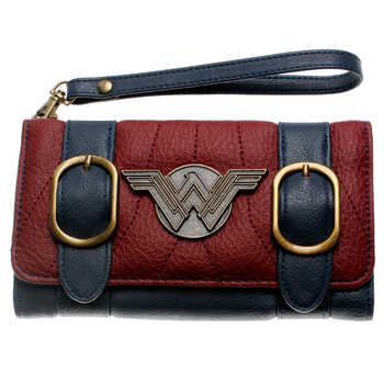 Wonder Woman  wallet  double buckle tri fold flap purse Blue / Bordeaux red embroidered Metal badge wallet femal  DFT-6502 - DISCOUNT ITEM  30% OFF All Category