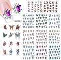 BLE 1390-1400 Larger 11Sheets in ONE Romantic Colorful Floral White Blue  Butterfly Print Transfer Sticker Nail Art Water Decals