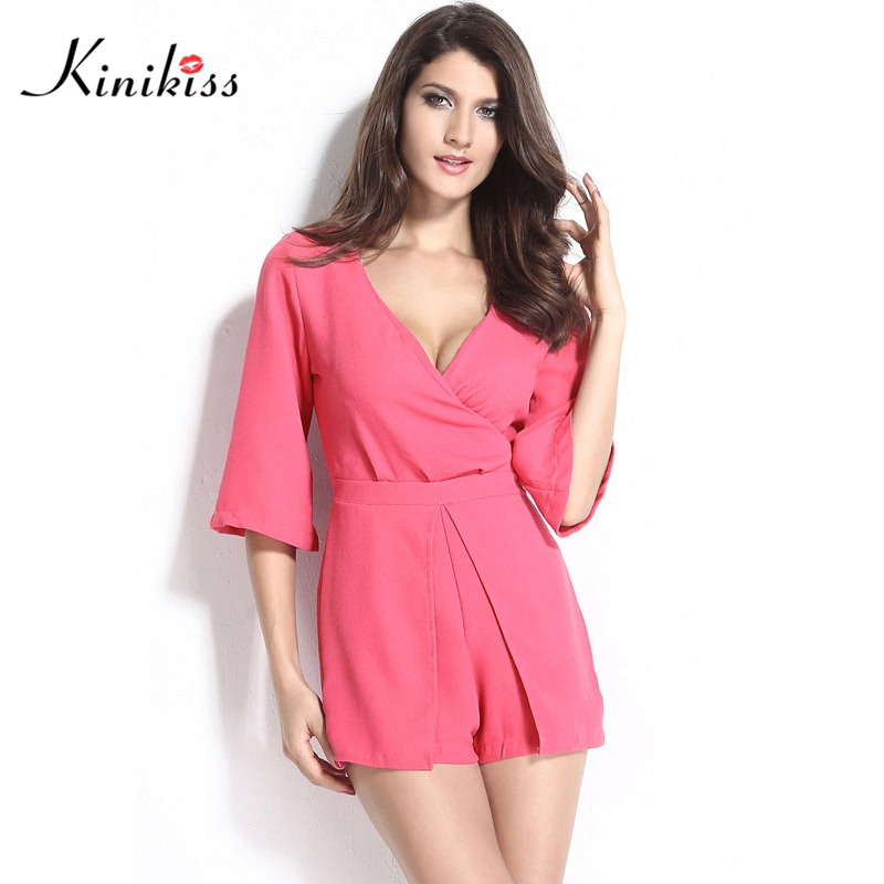 c6389e10f9 Kinikiss sexy women summer jumpsuit romper deep v club girl jumpsuit female  pink short romper fashion short women party jumpsuit-in Rompers from Women s  ...