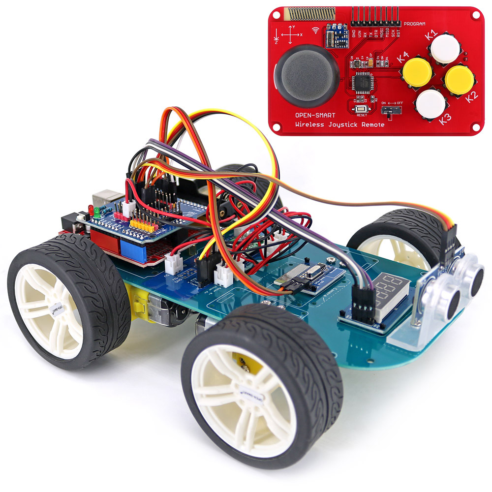 4WD Wireless JoyStick Remote Control Rubber Wheel Gear Motor Smart Car Kit w/ Tutorial for Arduino UNO R3 Nano Mega2560 arduino robot smart car kit uno r3 wireless control starter study l298n shield