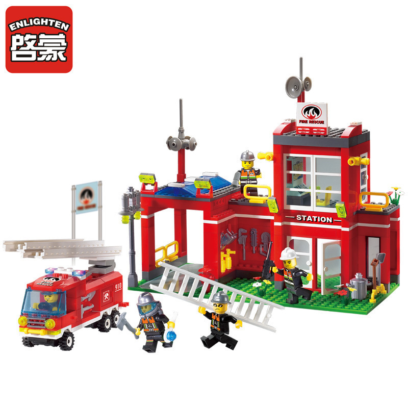 ENLIGHTEN 380pcs City Fire Branch Building Blocks Fire Truck Model Assembled Educational DIY Block Bricks Toys for Children Kids hot city fire rescue ladder engine truck building block fireman figures bricks educational toys for children gifts