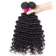 Deep Wave Brazilian Hair Bundles 4Pcs Lot Natural Color Human Hair Bundles Recool Remy Human Hair Extensions 4 Bundles Deal cheap 4 pcs Weft All Colors Remy Hair Free Part Permed =15 10