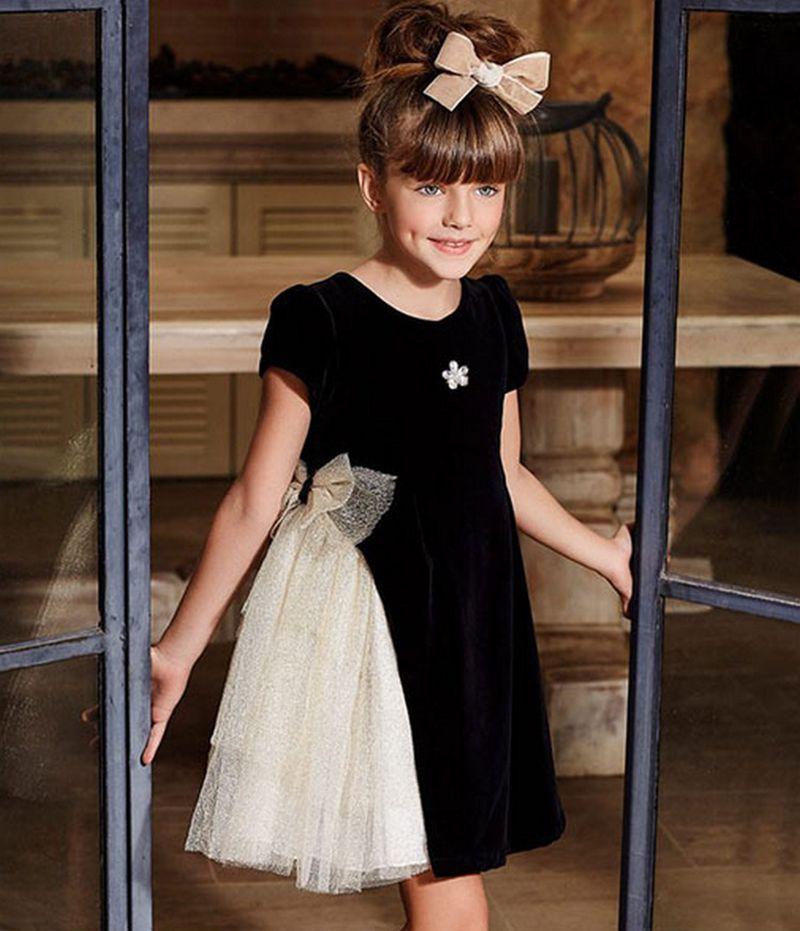 Image 5 - Платье с золотым бантом для девочек; коллекция 2019 года; детские черные бархатные платья для девочек; платье принцессы для вечеринки и свадьбы; детские летние платья-in Платья from Мать и ребенок