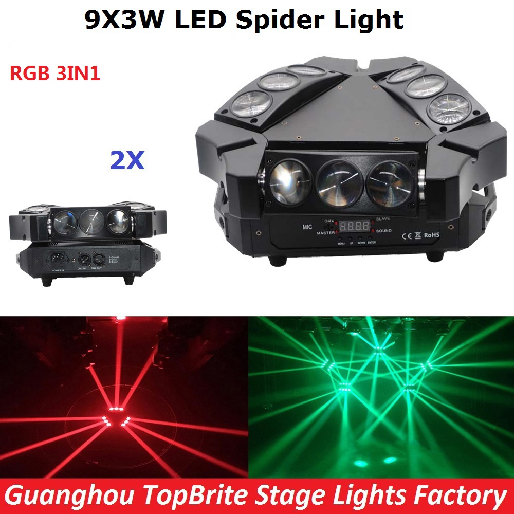 Free Shipping 2Pcs NEW LED Moving Head Light Mini LED Spider 9*3W RGB 3IN1 Beam Light Good Quality For Party Wedding Nightclubs