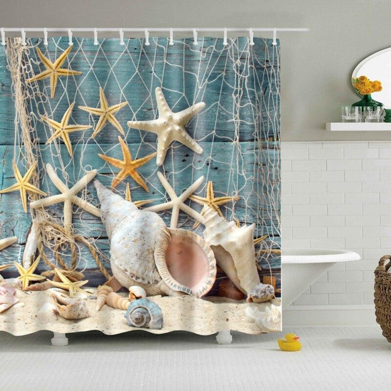 Attractive Rideaux De Douche Pas Cher #6: Starfish Rideau De Douche Polyester Rideau Douche En Tissu Pas Cher Mer Vie  Marine Plage Rideau