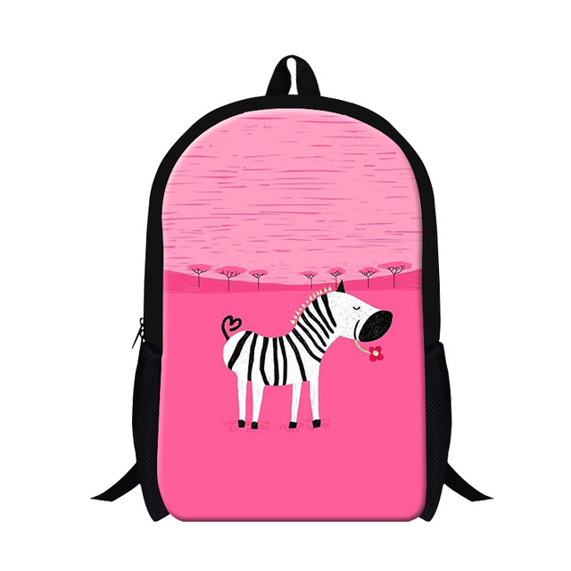 6f7be75b0d Venda quente zebra fundo rosa mochila da menina