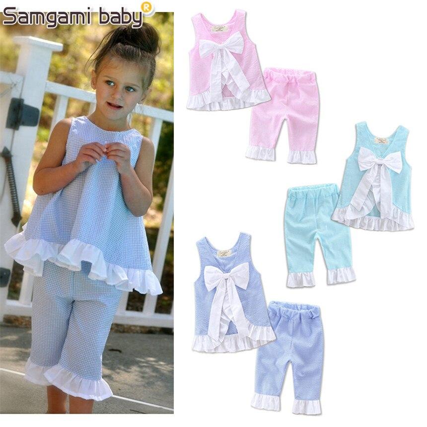 SAMGAMI BABY 2017 Lovely New Baby Girls Clothing Cotton Set Backless Bowknot Sleeveless Shirt+pants 2 Pcs Childrens Clothes Suit недорго, оригинальная цена