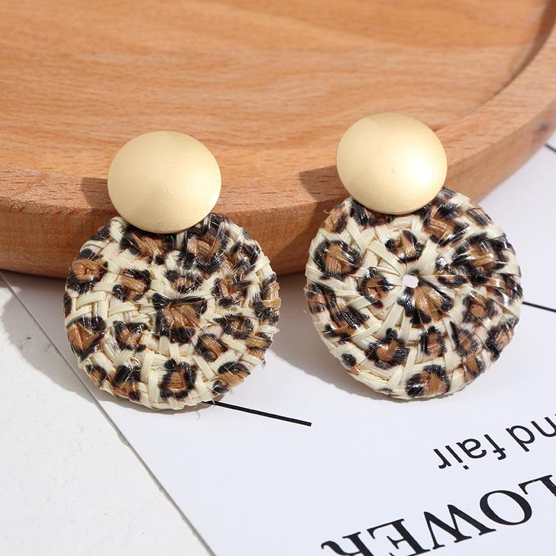 Flatfoosie nouvelle corée ronde boucles d'oreilles pour femmes naturel géométrique en bois bambou paille armure rotin tricot vigne plage boucle d'oreille 6