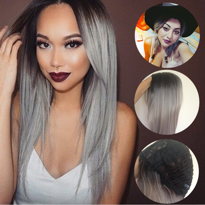 Grey Ombre Wig False Hair Synthetic Wigs for Black Women 22 Long Straight Natural Cheap Hair