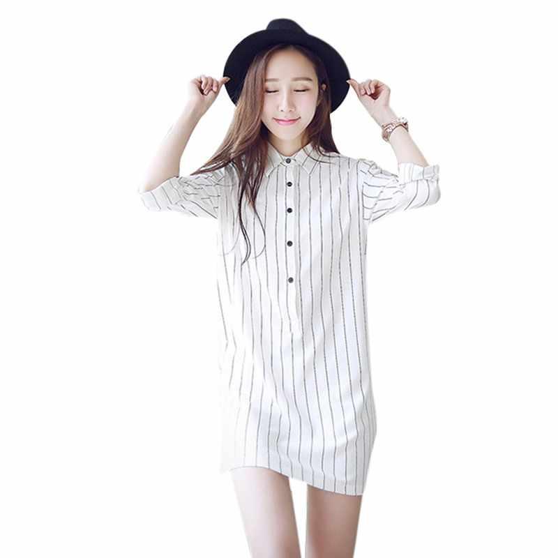 Корейские узкие Облегающая рубашка платье Для женщин черный, белый цвет  мини в полоску с длинным f1b1eac8f61