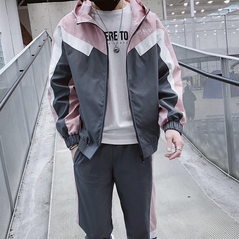 Sweatsuit Men Set Fashion Spring Sporting Suit Hoodies Sweatshirts Jacket+Pants Sportswear 2 Piece Set Tracksuit For Men Clothes