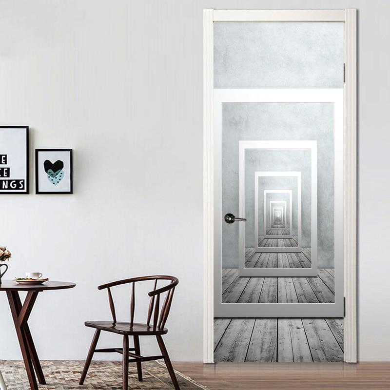 Kreative Geometrische Perspektive Tur Wand Aufkleber Wasserdichte