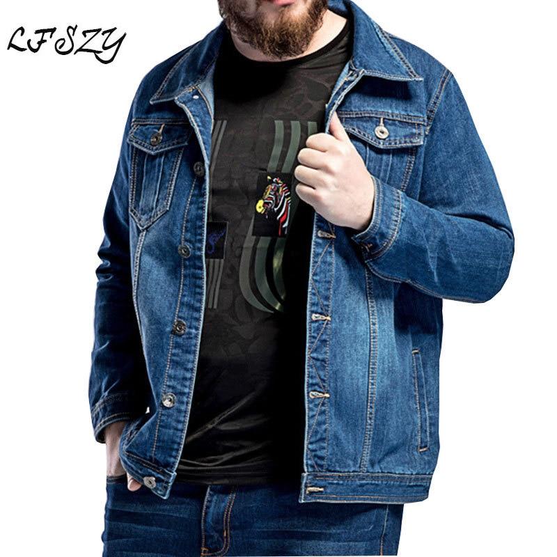2020 New Large Size L-5XL 6XL 7XL Men's Blue Denim Jacket Spring Loose Large Lapel Casual Jacket Fits 130kg Men's Wear