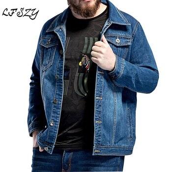 2020 New Large Size L-5XL 6XL 7XL Mens Blue Denim Jacket Spring Loose Lapel Casual Fits 130kg Wear
