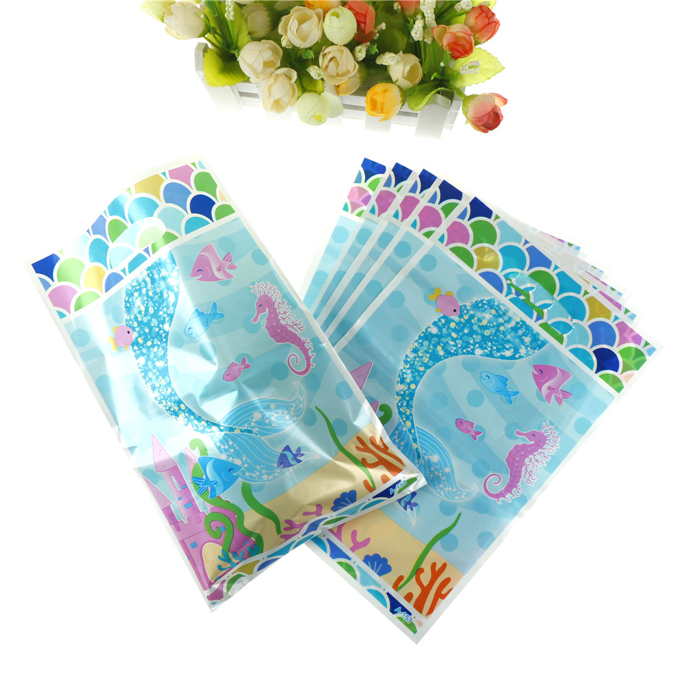 6pcs/set Plastic New Lovely Mermaid Theme Birthday Party Supplies Child Kids Decoration Return Gift Loot Bag Candy Box
