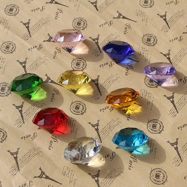 9pcs/set Sparkle Crystal Diamond 3cm Glass Gemstone Jewel Paperweight Feng Shui Home Decor Ornaments Wedding souvenirs Gifts 2