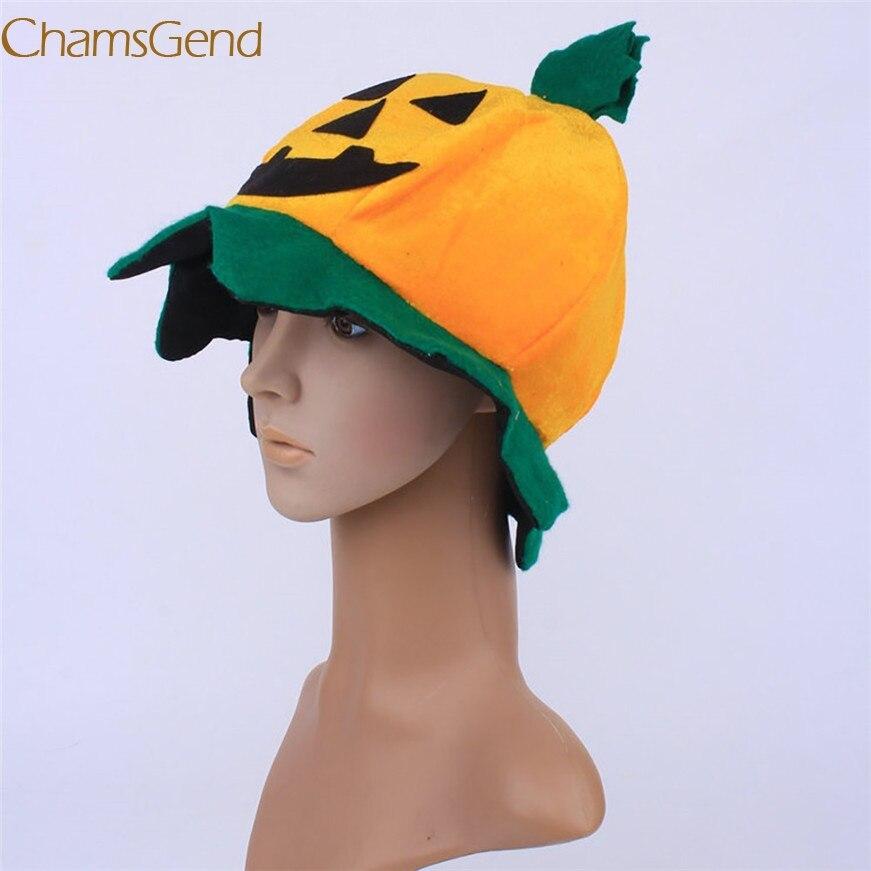 2017 A# Cos Halloween Pumpkin hat Pumpkin Motifs Lint Top Orange Hats