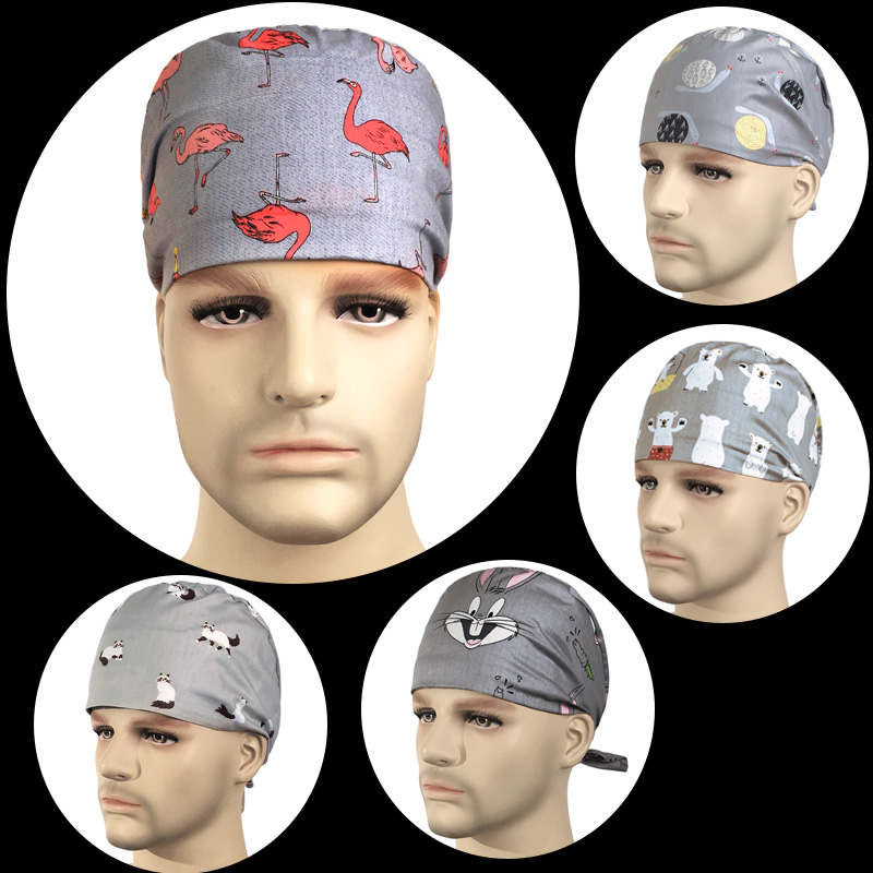 100% Cotton Medical Surgical Cap For Women And Men Mecial Work Accessories, Fashion European And American Printing Medical Caps