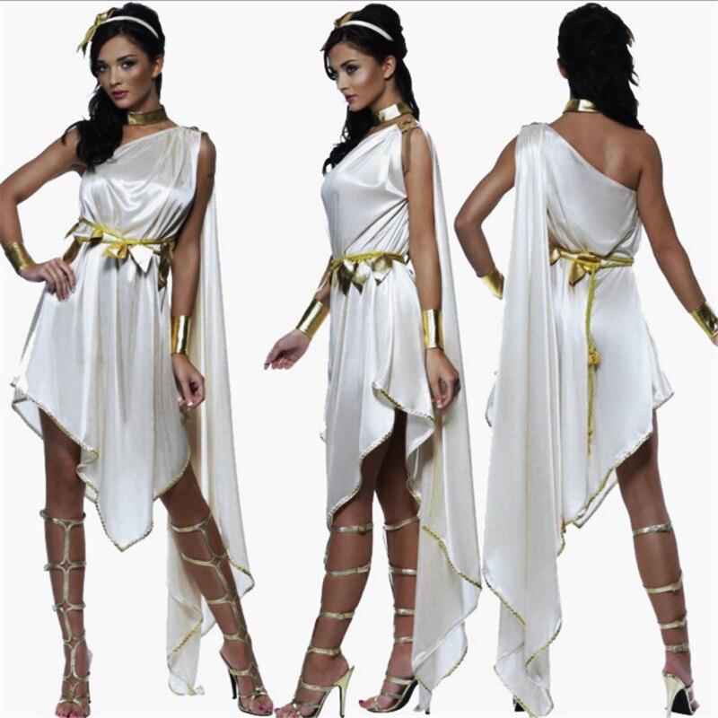 nuovo bianco indiano costumi dea greca principessa romana operato da cosplay del partito cleopatra dress athena